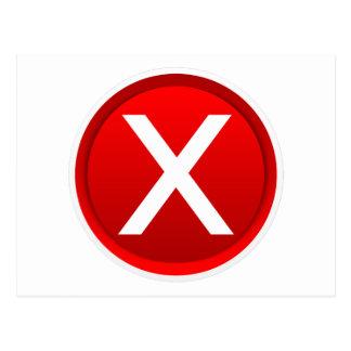 X rojo - Ningún/símbolo incorrecto Tarjetas Postales
