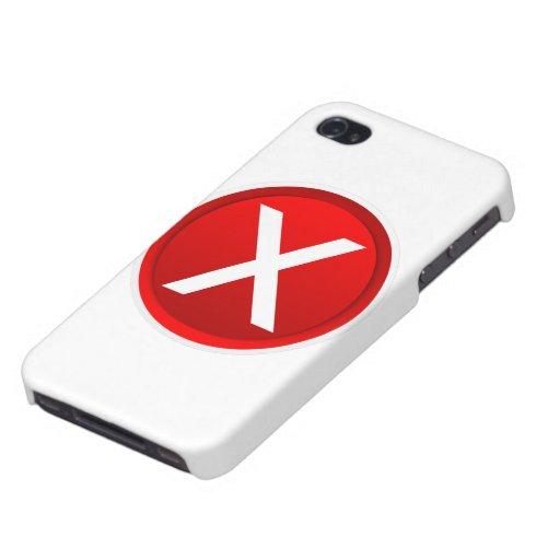 X rojo - Ningún - símbolo iPhone 4 Carcasa
