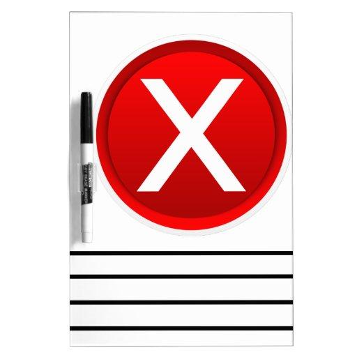 X rojo - Ningún - símbolo Pizarras Blancas