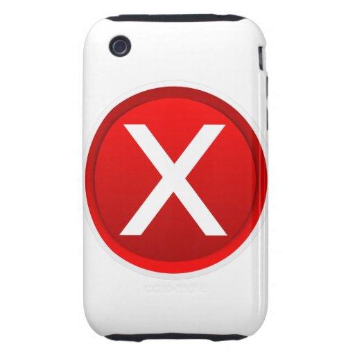 X rojo - Ningún - símbolo Tough iPhone 3 Fundas
