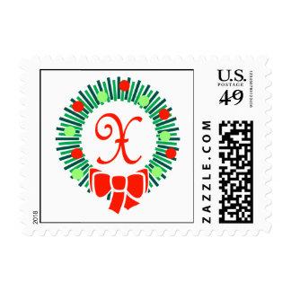 X sello del monograma (guirnalda retra del navidad