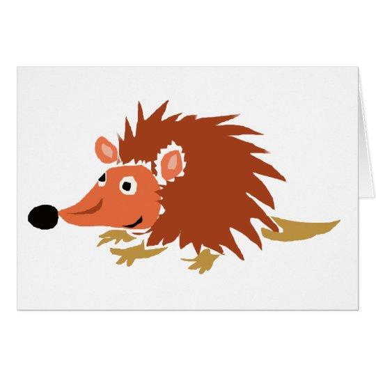 XA- Funny Hedgehog Primitive Art Cartoon Card