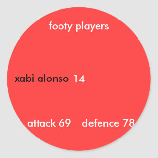 xabi alonso, 14, footy players, attack 69, defe... classic round sticker