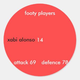 xabi Alonso, 14, jugadores footy, ataque 69, defe… Pegatina Redonda