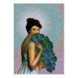 Xahara: Retrato de 1917 modas en aguamarina y verd Tarjeta De Visita