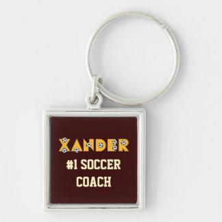 Xander en oro del fútbol llavero cuadrado plateado