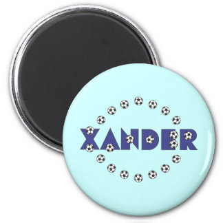 Xander in Soccer Blue 2 Inch Round Magnet