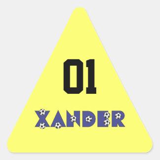 Xander in Soccer Blue Triangle Sticker