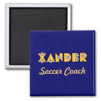Xander in Soccer Gold 2 Inch Square Magnet