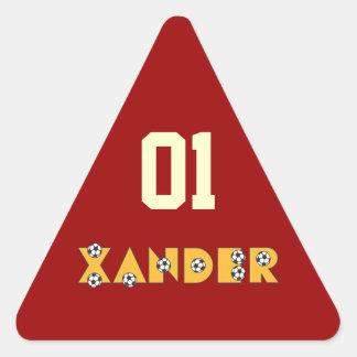 Xander in Soccer Gold Triangle Sticker