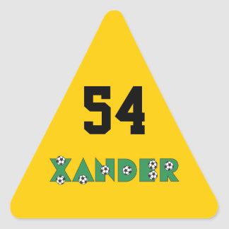 Xander in Soccer Green Triangle Sticker