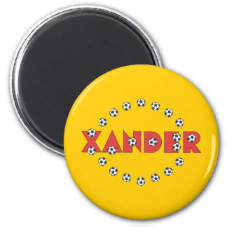 Xander in Soccer Red 2 Inch Round Magnet