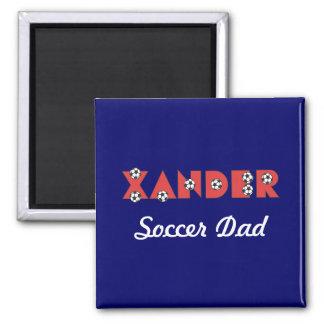 Xander in Soccer Red 2 Inch Square Magnet