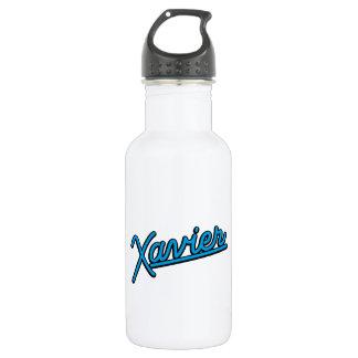 Xavier in cyan water bottle