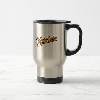 Xavier in orange 15 oz stainless steel travel mug