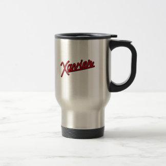 Xavier in red 15 oz stainless steel travel mug