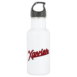 Xavier in red stainless steel water bottle