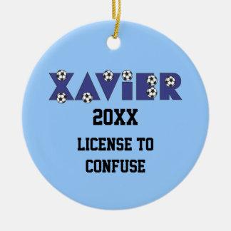 Xavier in Soccer Blue Ceramic Ornament