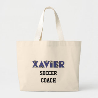 Xavier in Soccer Blue Large Tote Bag