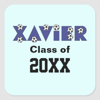 Xavier in Soccer Blue Square Stickers