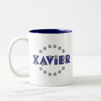 Xavier in Soccer Blue Two-Tone Coffee Mug