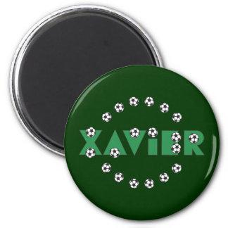 Xavier in Soccer Green 2 Inch Round Magnet
