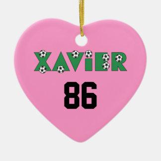 Xavier in Soccer Green Ceramic Ornament