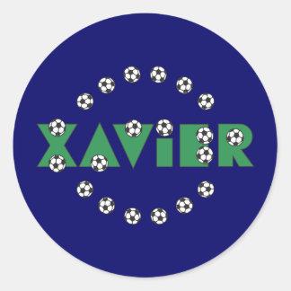 Xavier in Soccer Green Classic Round Sticker