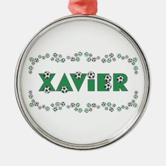 Xavier in Soccer Green Metal Ornament