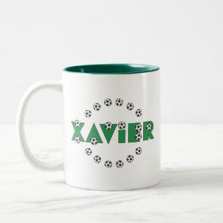 Xavier in Soccer Green Two-Tone Coffee Mug