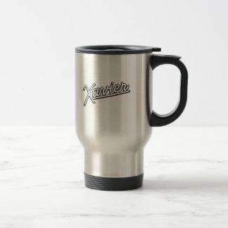Xavier in white 15 oz stainless steel travel mug