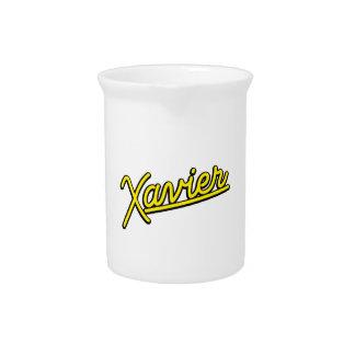 Xavier in yellow beverage pitchers