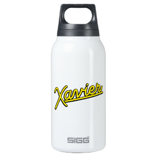 Xavier in yellow insulated water bottle