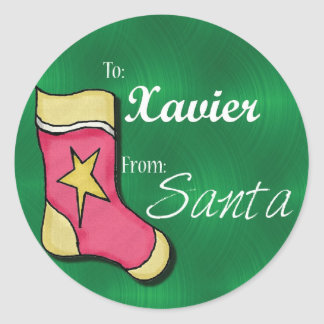 Xavier Personalized Christmas Label Classic Round Sticker