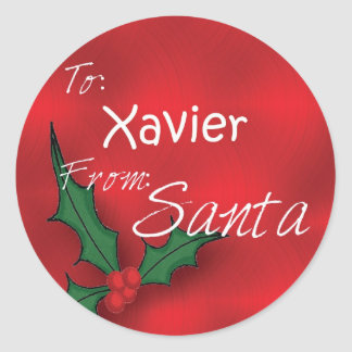 Xavier Personalized Holly Label125 Classic Round Sticker