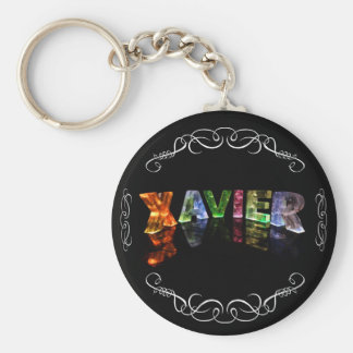 Xavier  - The Name Xavier in 3D Lights (Photo) Keychain