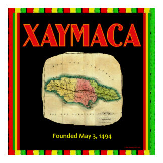 Xaymaca, founded 1494 Vintage Jamaica Map on Canva Print
