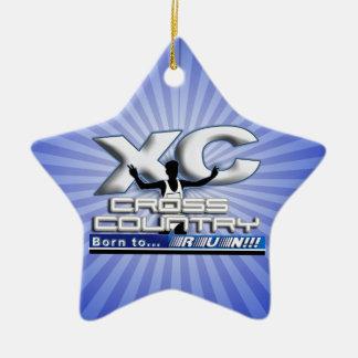 XC BORN TO RUN CROSS COUNTRY LOGO CERAMIC ORNAMENT