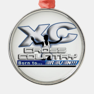 XC BORN TO RUN CROSS COUNTRY LOGO METAL ORNAMENT