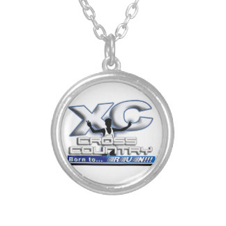 XC BORN TO RUN CROSS COUNTRY LOGO SILVER PLATED NECKLACE