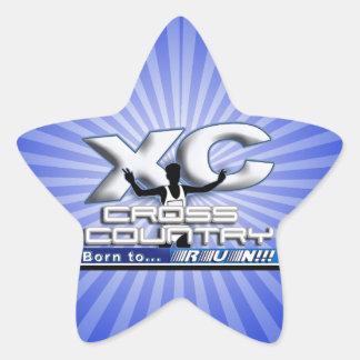XC BORN TO RUN CROSS COUNTRY LOGO STAR STICKERS