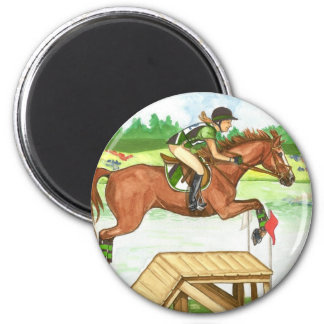 XC Bright Chestnut by the lake, Eventing 2 Inch Round Magnet
