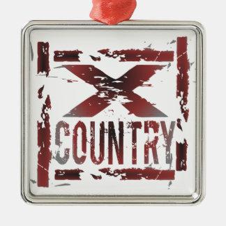 XC corredor del campo a través Adorno Navideño Cuadrado De Metal