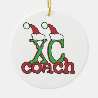 XC Cross Country Coach - Christmas Holiday Double-Sided Ceramic Round Christmas Ornament