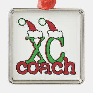XC Cross Country Coach - Christmas Holiday Square Metal Christmas Ornament