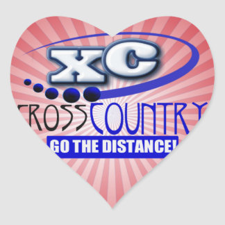 XC CROSS COUNTRY GO THE DISTANCE HEART STICKER