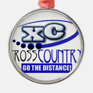 XC CROSS COUNTRY GO THE DISTANCE ROUND METAL CHRISTMAS ORNAMENT