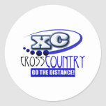 XC CROSS COUNTRY GO THE DISTANCE! ROUND STICKERS