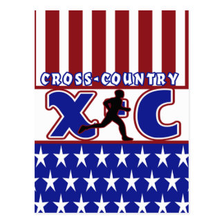 XC CROSS COUNTRY PATRIOTIC USA COLORS POSTCARD
