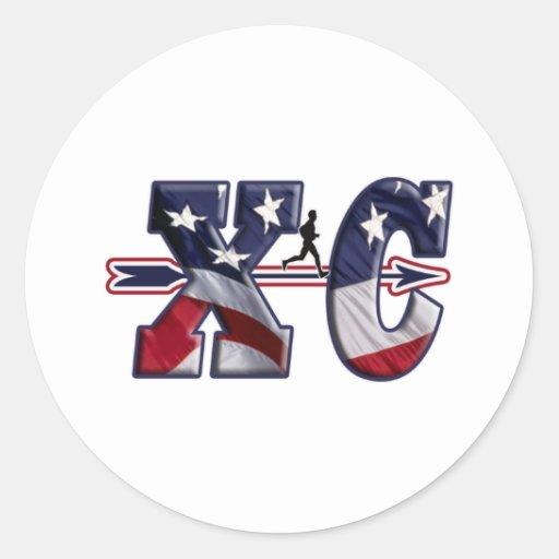 XC CROSS COUNTRY PATRIOTIC USA FLAG ROUND STICKERS
